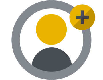 Icon with person outline and plus symbol