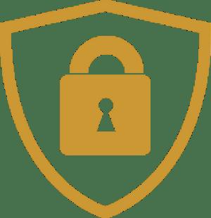 A lock inside a shield icon